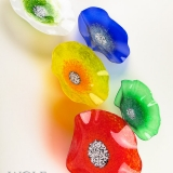 Bright Primary Colors Blown Glass Wall Art Poppy Flowers