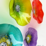 Turquoise Teal, Lemon Lime, Amethyst Purple, Bright Red Glass Wall Art Flowers