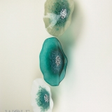 Gray with Teal, Translucent Teal, White with Teal Poppy Flower Glass Wall Art