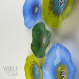 Alligator Green, Bright Olive Green and Dutch Blue blown glass poppies