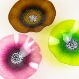 Fuchsia Pink, Amber & Lemon Lime Glass Poppy Wall Art