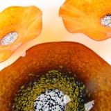 Blown Glass Wall Art - Amber Brown & Bright Orange Trio