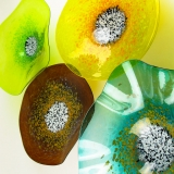 Lemon Lime Green, Amber, Yellow, Teal Turquoise Poppy Flower Glass Wall Art