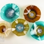 Turquoise Teal, Amber, Olive Brown, and Amber Swirl Blown Glass Wall Art