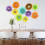 Blown Glass Wall Art Collection Digital Mockup - Poppies & Starburst Dining Room