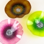 Fuchsia Pink, Amber & Lemon Lime Glass Poppy Wall Art