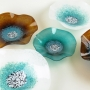 Blown Glass Wall Art - Teal Turquoise, White & Amber Wall Art Collection