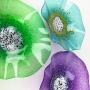 Emerald Green, Teal Turquoise, Amethyst Purple Poppy Flowers Glass Wall Art