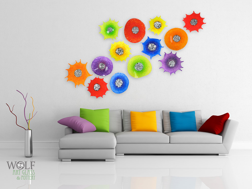 Blown Glass Wall Decor : Blown glass wall art sculptures flowers rondels at