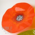 Bright Orange Poppy Flower Glass Wall Art