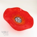 Bright Red Poppy Flower Glass Wall Art