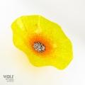 Yellow Poppy Flower Glass Wall Art