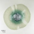 Gray Turquoise Teal Poppy Flower Glass Wall Art