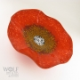 Brick Red Poppy Flower Glass Wall Art