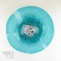 Turquoise Blue Poppy Flower Glass Wall Art
