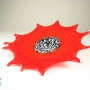 Red Starburst Glass Wall Art