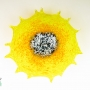 Yellow Starburst Glass Wall Art