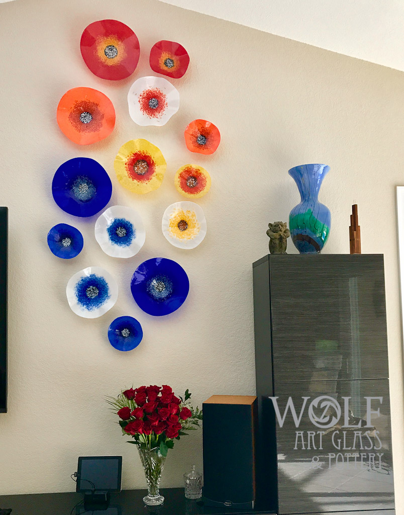 Colored Glass Wall Decor : Blown glass wall art ornaments and recycled